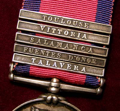 Military General Service Medal.  5 Clasps. 14th Light Dragoons.