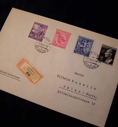 Reinhard Heydrich 'Death mask' Stamp. Unopened  Registered Envelope From Meloun,  Czechoslovakia*