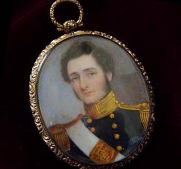 Naval Portrait Miniature Pair  with Medals.  Father & Son Group