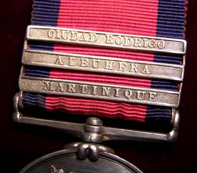 Military General Service Meda. Martinique,  Albuhera, Cuidad Rodrigo Clasps (Unique). 7th Rgt. Foot.