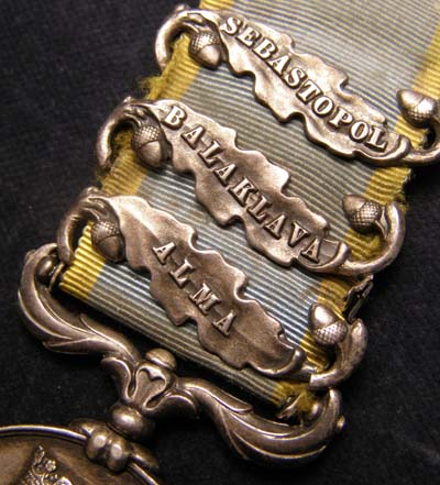 Crimea Medal. 3 Clasps. Black Watch.