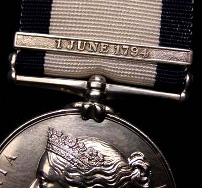 Naval General Service Medal.  'Glorious'  1st June  Clasp. 1794.