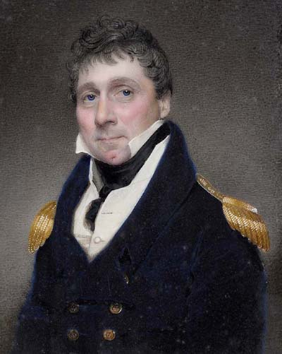 Watercolour of Vice Admiral Bulkely Mackworth-Praed, commanded HMS Crash in 1797