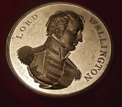 Wellington silver metal 'Four Battles' commemorative medallion.