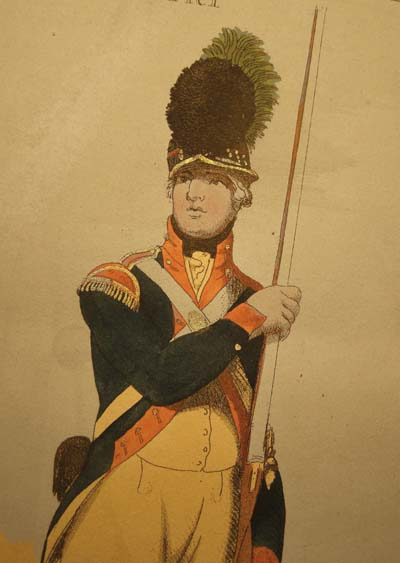 A Volunteer with the Westminster Light Infantry, aquatint by Delin 1798