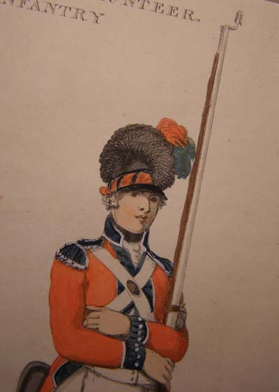 A Volunteer with the Bethnal Green Light Infantry, aquatint by Delin 1798