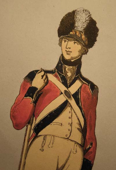 A Volunteer with the Bishopsgate Militia, aquatint by Delin 1798