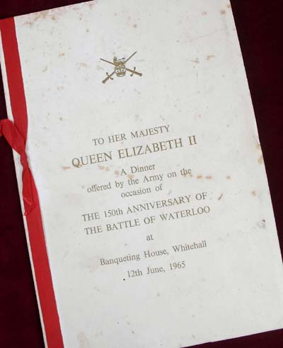 Battle of Waterloo 150th Anniversary Banquet menu held at the Guildhall in 1965