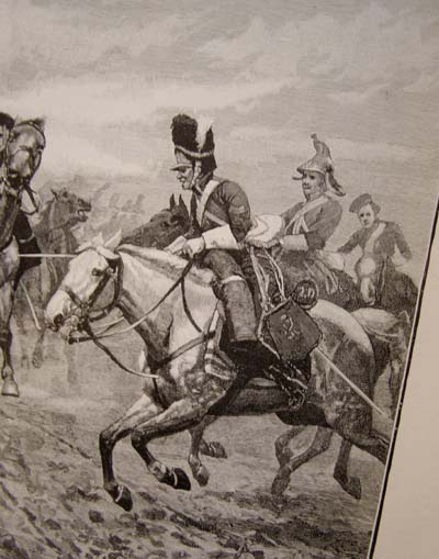 Lithograph. The Union Brigade At The Battle of Waterloo.