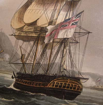 Capture of the Island of Banda Aug 9th 1810 -Original aquatint from Jenkins' Naval Achievements 1817