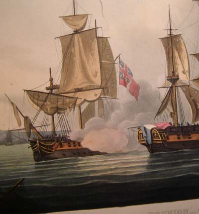 Jenkins' Naval Achievements. 1817 Aquatint. Capture of La Runion.