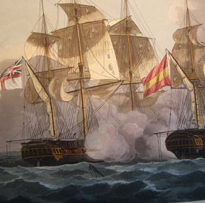Jenkins' Naval Achievements. Aquatint 1817. Capture of The Mahonesa.