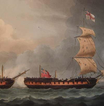 1795. Capture of La Pique. Jenkins' Naval Achievements. Aquatint 1817