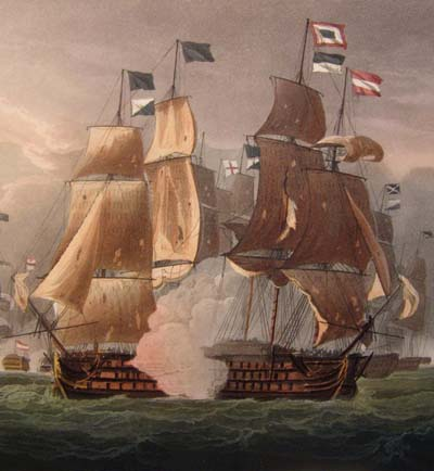 Jenkins' Naval Achievements. Aquatint 1817. Battle off Cape St.Vincent.
