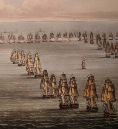 Jenkins' Naval Achievements. Aquatint 1817. Battle of Trafalgar.
