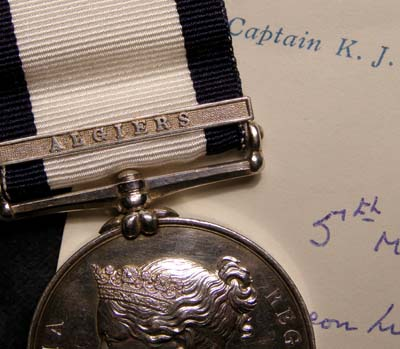 Naval General Service Medal. Algiers Clasp. HMS Hebrus. Provenance.
