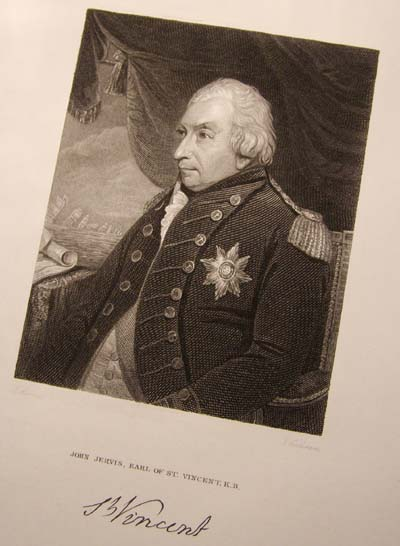 Admiral John Jervis - Earl of St.Vincent - Fine Engraving published by Fisher & Sons 1829