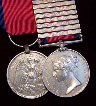 Waterloo &  Military General Service Medal.  8 Clasps. Cameron Highlanders.
