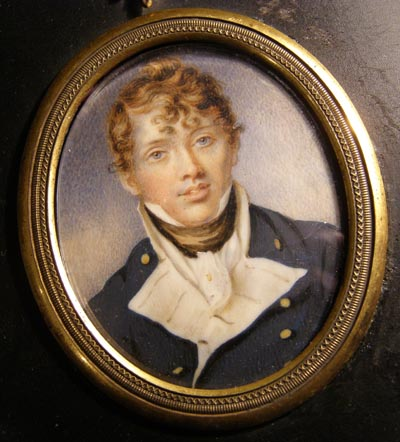 Naval Portrait Miniature. Midshipman. William Wood. 1804.
