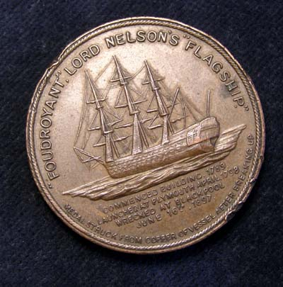 Copper Medallion Struck To Comemmorate Nelson's Flagship 'Foudroyant' After being Broken Up 1897