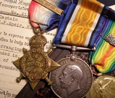 WWI Medal Trio. Officer. Founder Member Intelligence Corps. 1914.