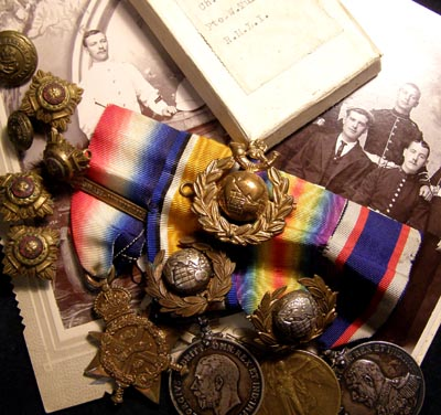 1914 Star Medal Trio & RFRLS Medal + Grouping To Royal Marine.