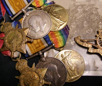 Two WWI 1914-15 Medal Trios. Brothers Landed France Same Day, Both With RFA.