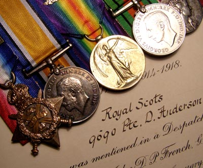 WWI 1914 Star Medal Trio With MID Certificate. Royal Scots.