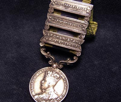 India General Service Medal - Miniature. Three  Clasps.