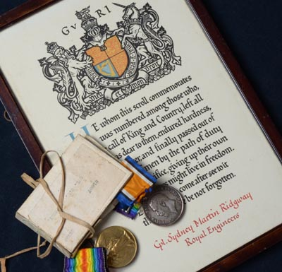 WWI Scroll & Medal Pair | Royal Engineers | KIA |Provenance.