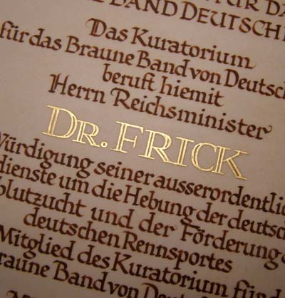 1936 Horse Breeders Citation Awarded to Reichminister Dr.Frick