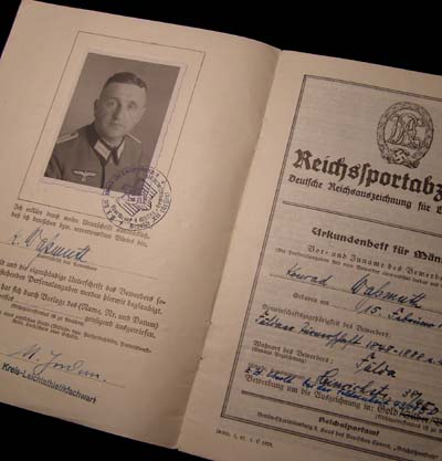 Reichssportabzeichen (Sports Badge) Citation Book for Gold Grade - Awarded to Infantry Officer