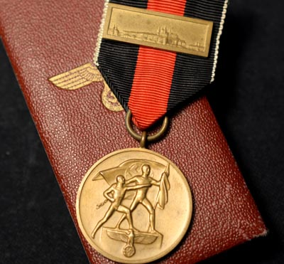Entry into Sudeten Medal with Prag Bar | Cased