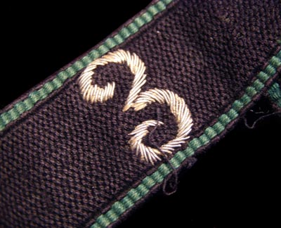 Allgemeine-SS NCO Sturm '3', Sturmbann I Machine-Embroidered Cuff Title.
