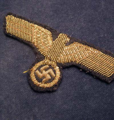 Kriegsmarine Insignia. Eagle & Swastika. Officer. Golden-Wire.