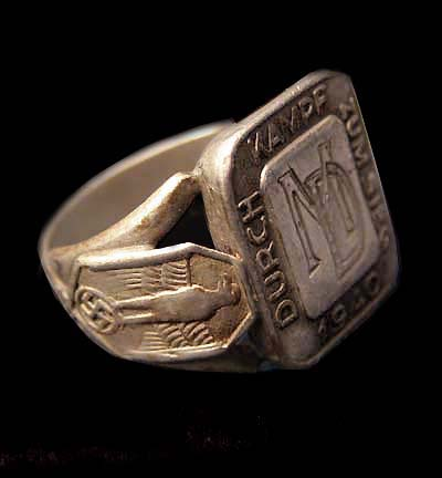 Reichskommissar for Occupied Holland Silver Ring With Owner's Initials