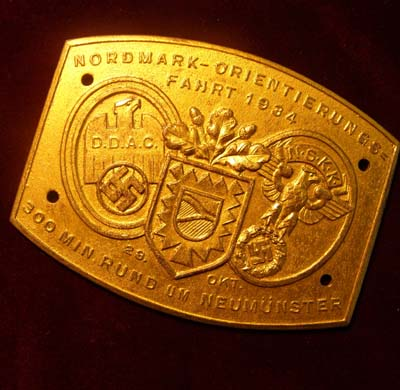 NSKK Motor Racing Competition Plaque For 300 Minutes Race Around Neumünster In 1934
