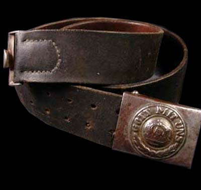 Prussian OR/NCO Leather Belt With Steel Buckle