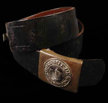 Prussian OR/NCO Leather Belt With Brass Buckle