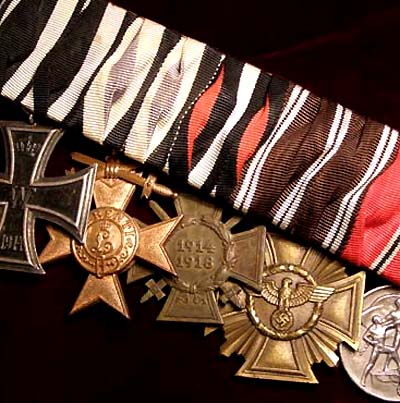 NSDAP 10 Year Service Cross. 5 Medals. Austrian-Style Court Mounted.
