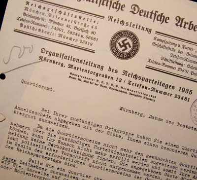 NSDAP Reichsparteitages Document. Brown House.