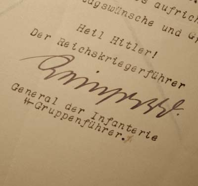 SS Birthday Document Signed by SS General Reinhardt