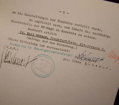 NSDAP Document. SS Signature.