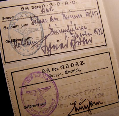 NSDAP Membership Book - SA-Obersturmführer - Joined 1932.