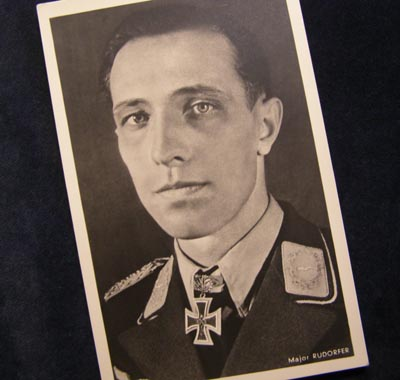 Luftwaffe Major Rudorfer Postcard.