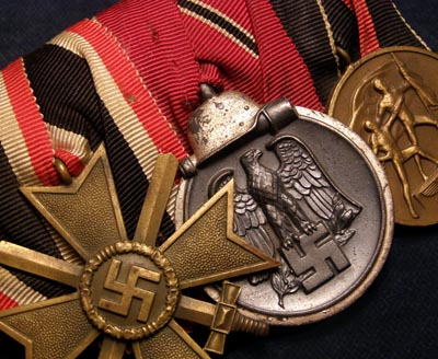 War Merit Cross With Swords  Medal Group. 3 Medals . Court Mounted.
