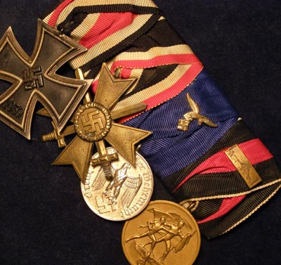 Luftwaffe Iron Cross Medal Group. 4 Medals . Court Mounted.