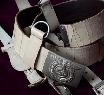 Allgemeine-SS LAH White Belt With Buckle & 'Y' Straps.