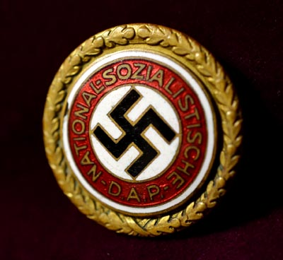 Gold Party Badge | SS Sturmbannführer | Large Size | Military Pin | Blood Order Holder.
